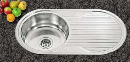single round bowl inset kitchen sink with reversible drainer. Interior Design Ideas. Home Design Ideas
