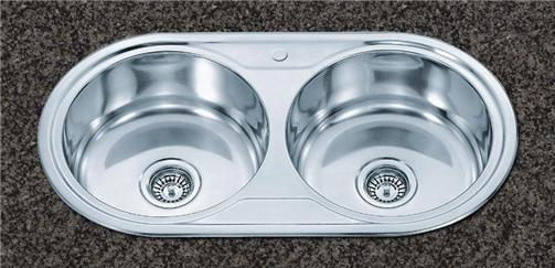 20 double two round bowl stainless steel inset top mount kitchen sink - Round Sinks Kitchen