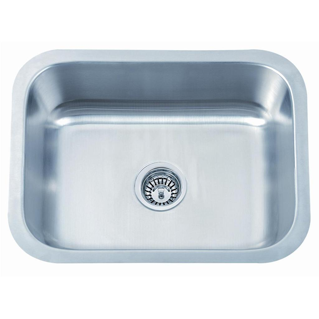 Large single bowl brushed stainless steel undermount kitchen sink
