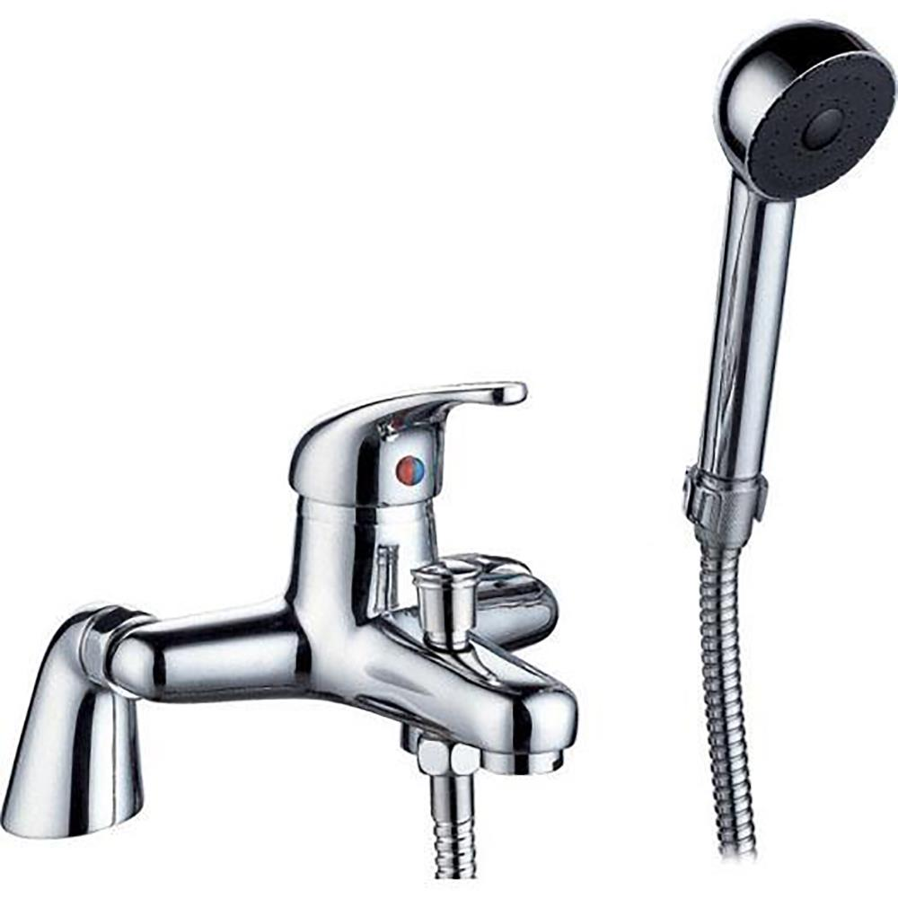 single lever chrome bathroom bath mixer tap with shower tap fitting push on bath or basin shower spray amazon co