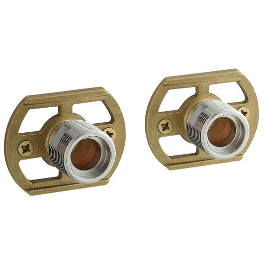Pair Of BSP Wall Mounting Fixing Brackets For Exposed Bar Shower Bath Mixer Tap
