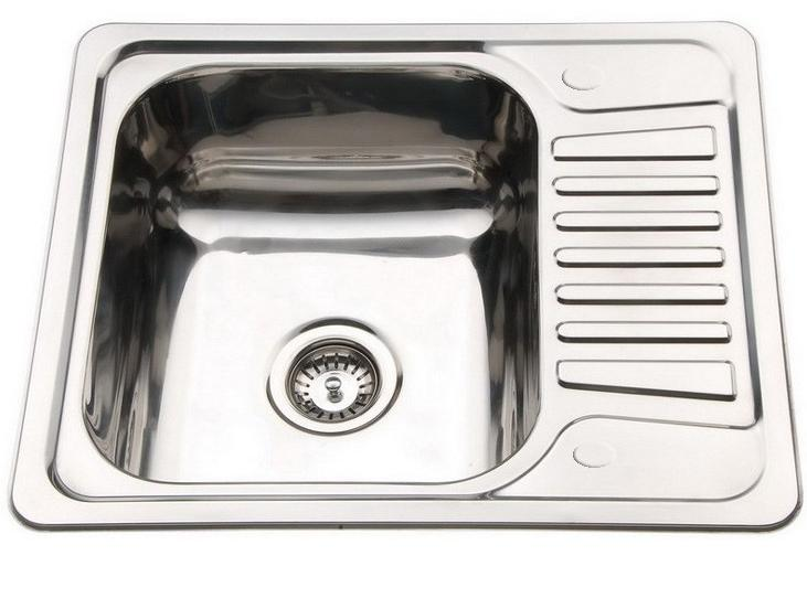 Small 1.0 Bowl Inset Compact Kitchen Sink Drainer Polished ...