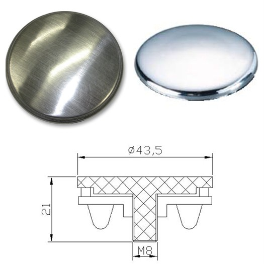 Cover disk for a kitchen sink tap hole available in either brushed steel or polished steel finishes