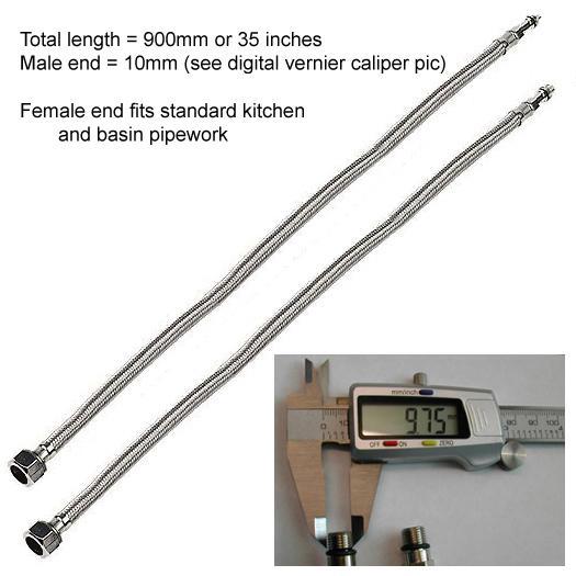 Rare Long - 90cm Basin Or Kitchen Taps Flexible Pipes 10mm Monobloc Mixer Tails