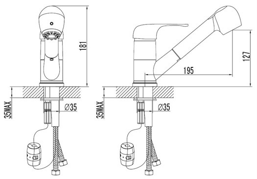 Pull Out Spout Kitchen Tap Technical Drawing With Sizes