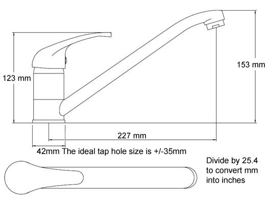This is the line drawing with kitchen sink mixer tap dimensions