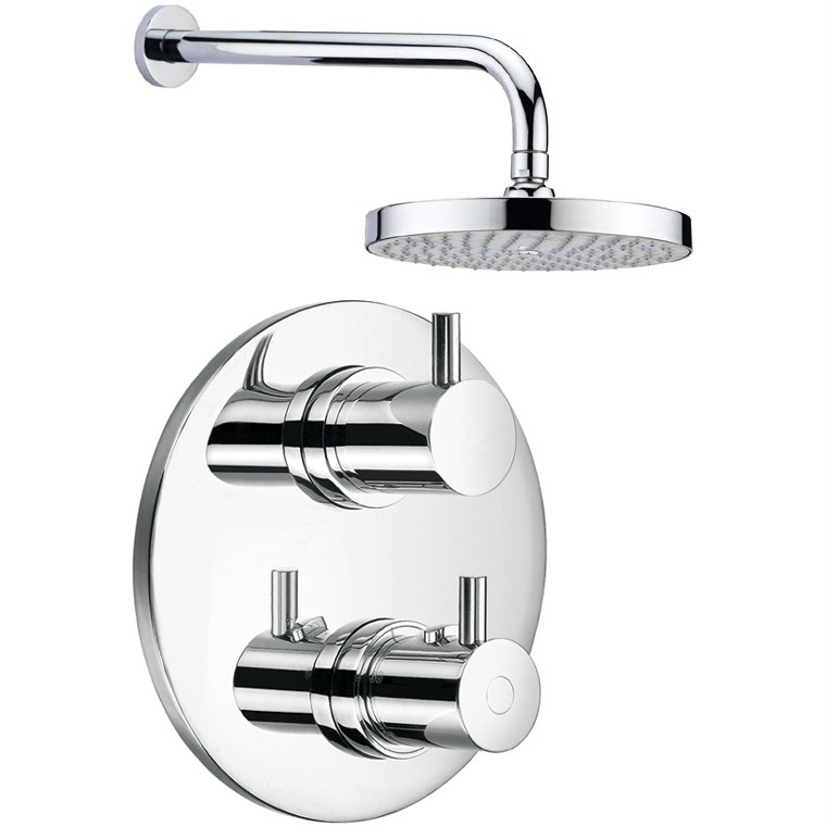 Round Thermostatic Bathroom Shower Valve Mixer Tap, Wall Arm And Head Set Concealed And Wall Mounted For Sale Online By Grand Taps UK