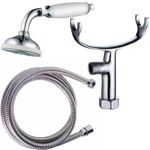 Chrome Hand Held Bathroom Shower Head, 1.5 m Flexible Steel Hose & Tap Cradle In An Antique Traditional Victorian Design