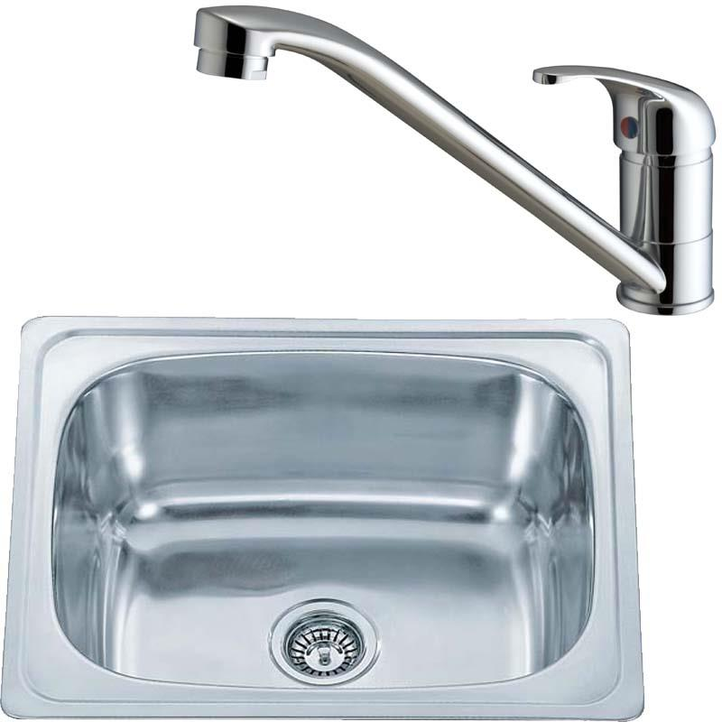 610 x 510 Stainless Inset Kitchen Sink Bowl And Chrome Aero Mixer ...
