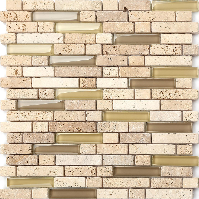 mosaic tiles glass stone beige cream brown bathroom kitchen brick sample mt0001 ebay. Black Bedroom Furniture Sets. Home Design Ideas