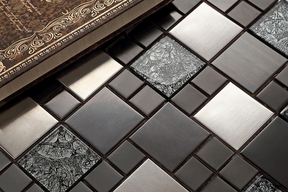 Mosaic tile metallic modular random black mix brushed - Metallic fliesen ...