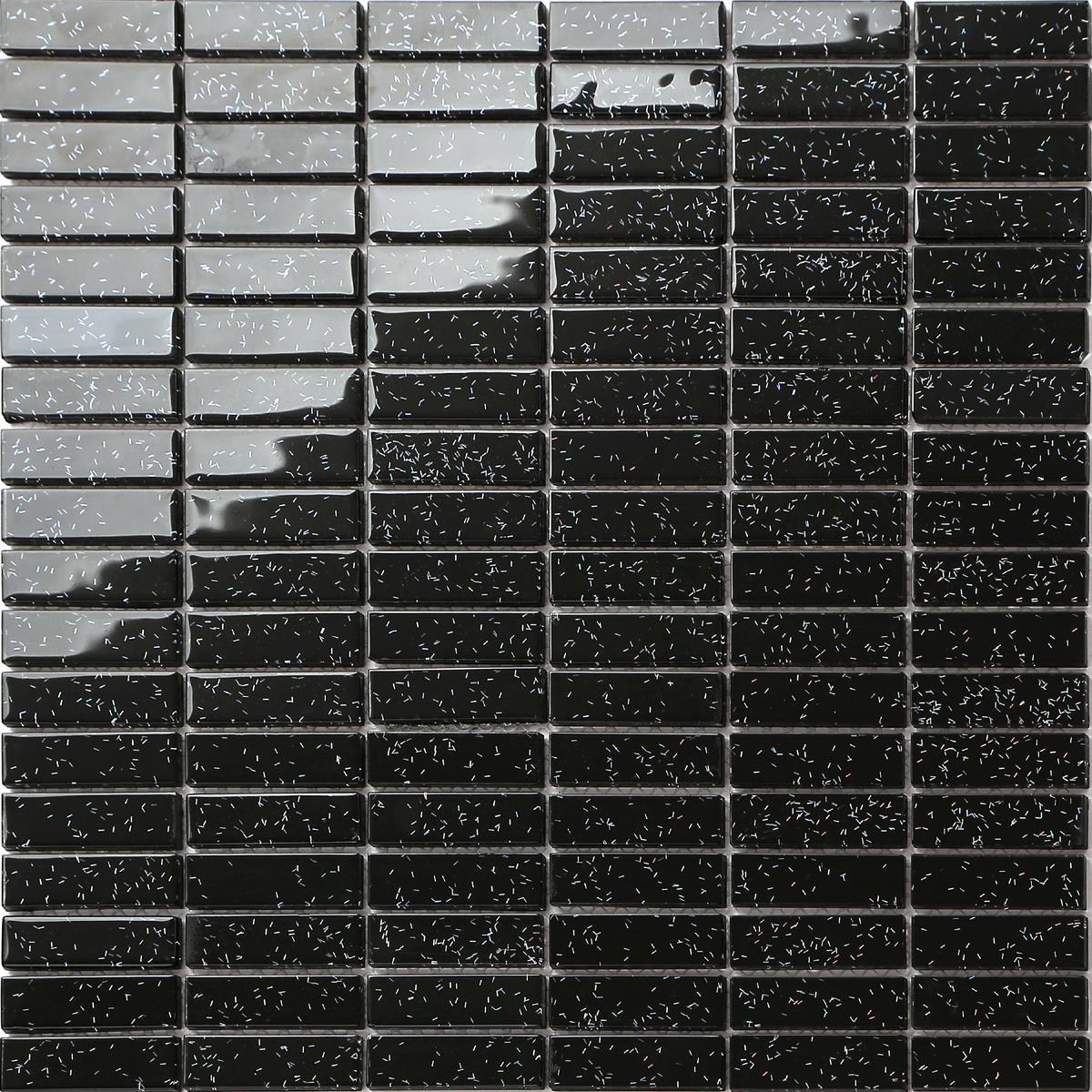 Glass brick mosaic tiles black glitter diy shower walls for Carrelage mural noir brillant