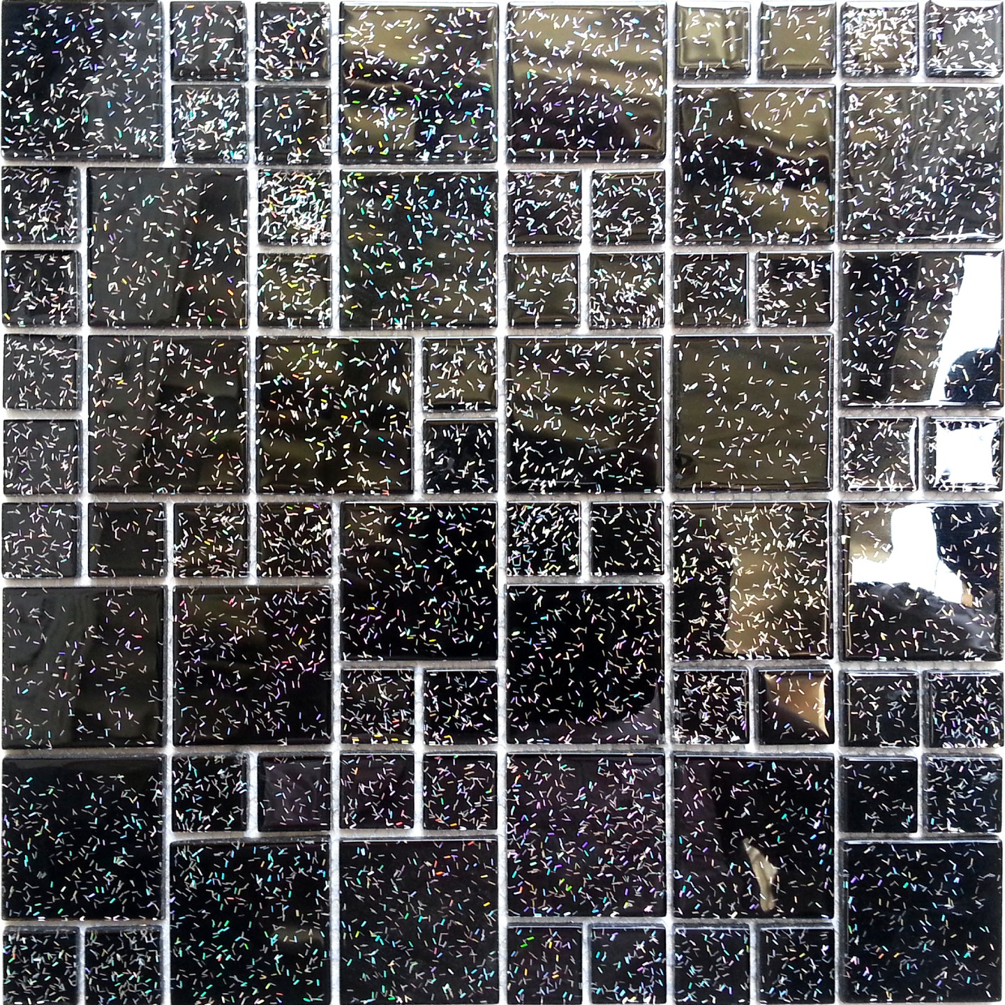 Glass Random Mix Mosaic Wall Tiles Black Glitter Feature