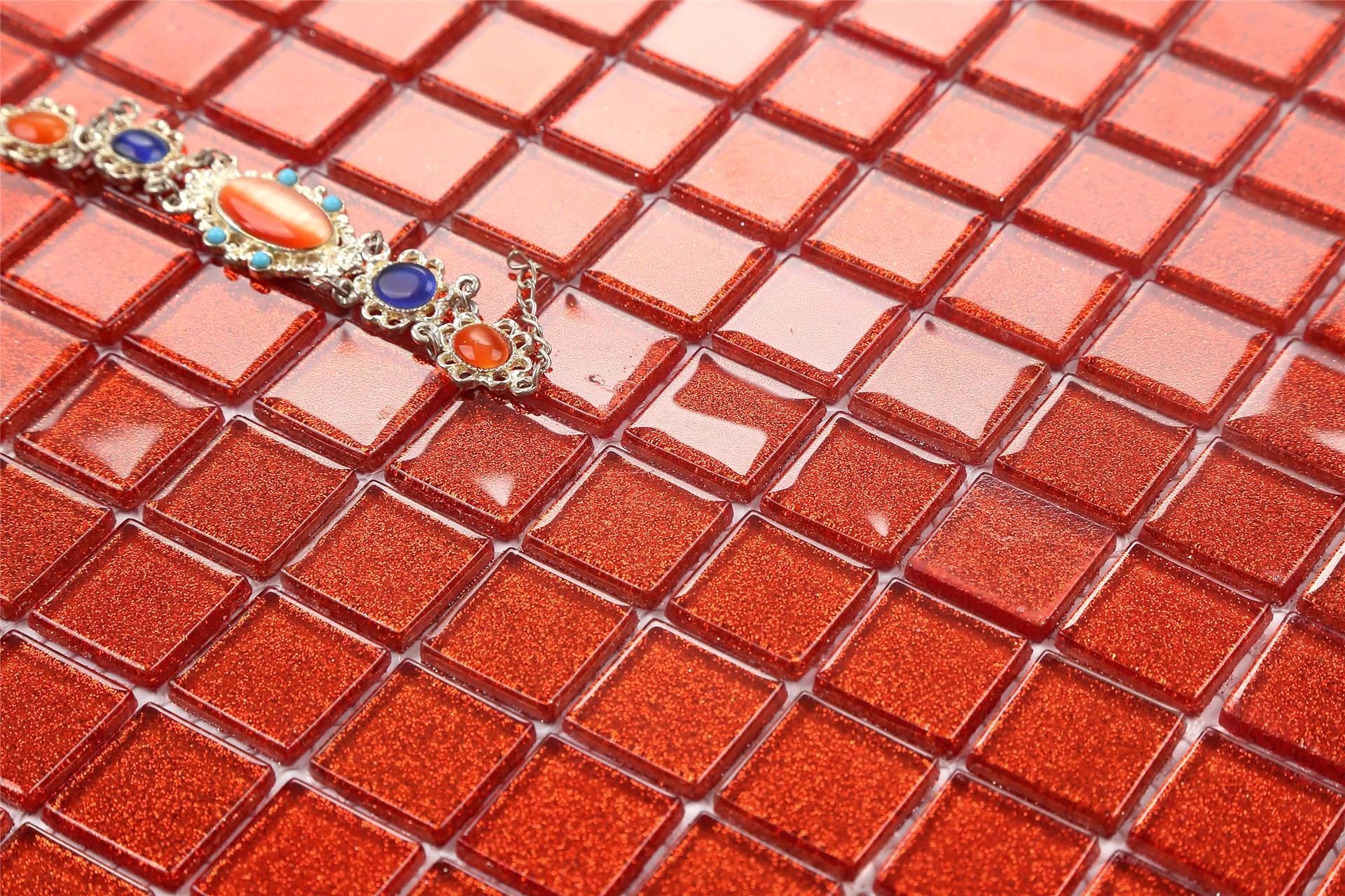 Mosaic tiles glass glitter red bathroom kitchen walls