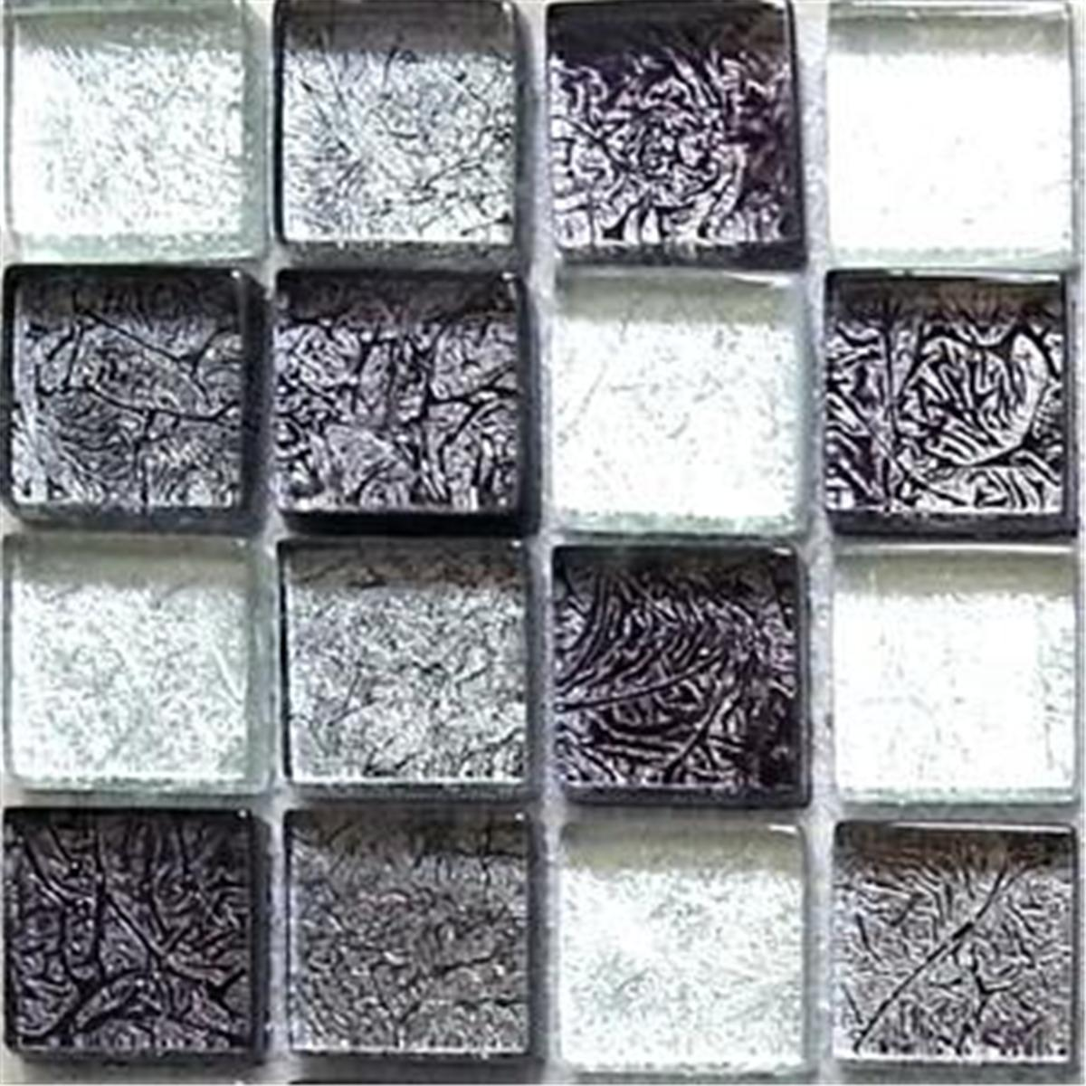 Silver Kitchen Wall Tiles: Mosaic Wall Tiles Glass Black And Silver Mix Bathroom And