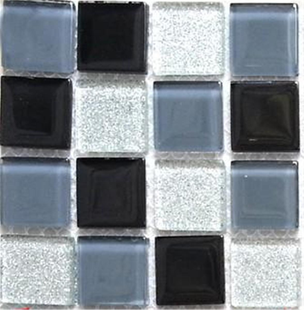 Silver Kitchen Wall Tiles: Mosaic Tiles Glass Black Grey Silver Bathroom Kitchen Wall