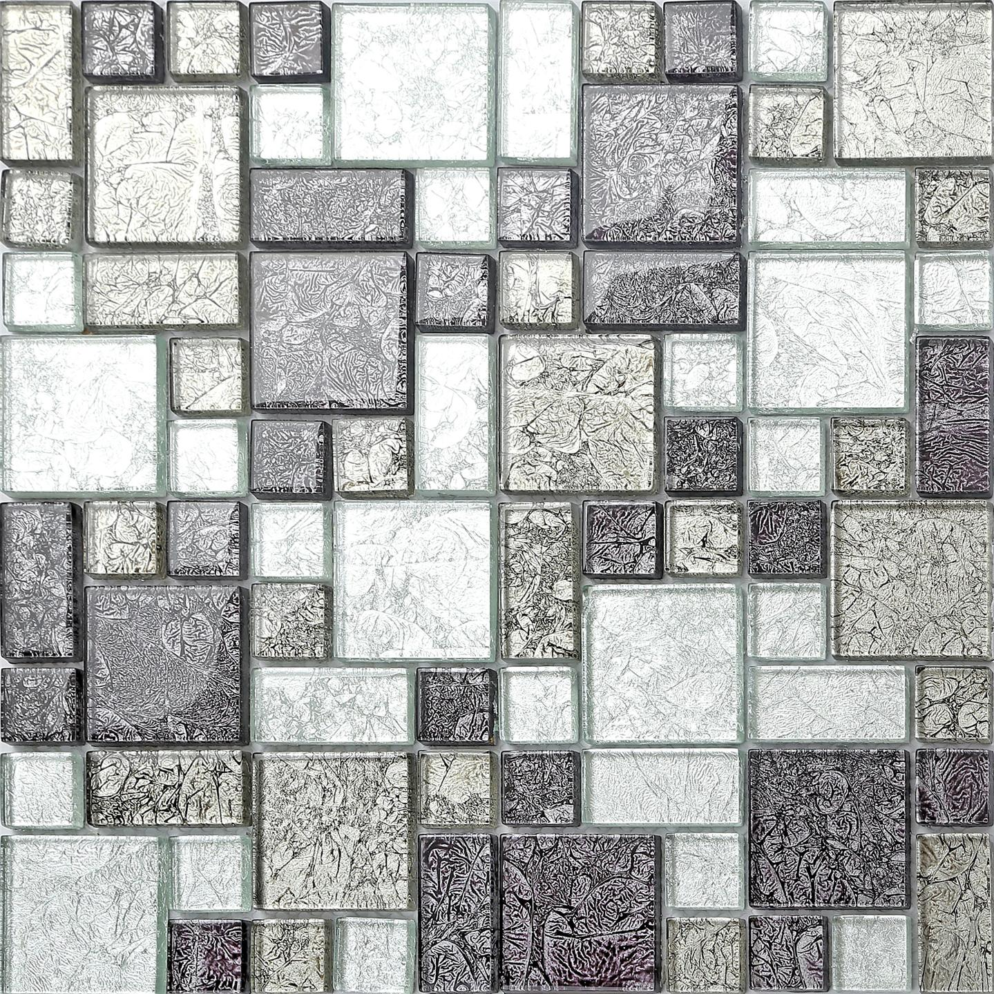 Black Silver Hong Kong Foil Glass Mosaic Tiles Modular Random Mix Sheet Mt0044 Ebay