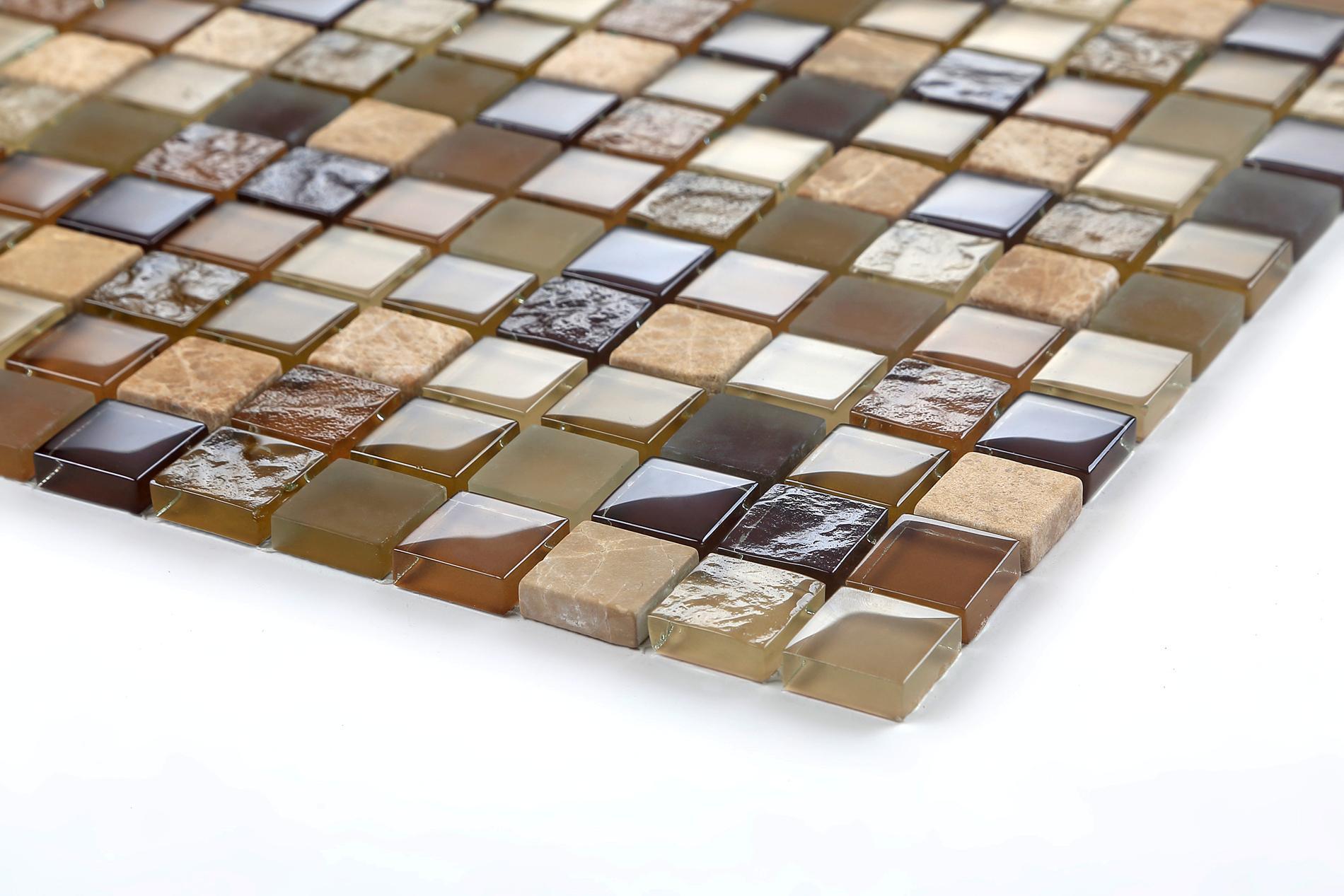 Kombination glasmosaik und naturstein braun und grun erde matte mt0050 ebay - Mosaik fliesen grun ...
