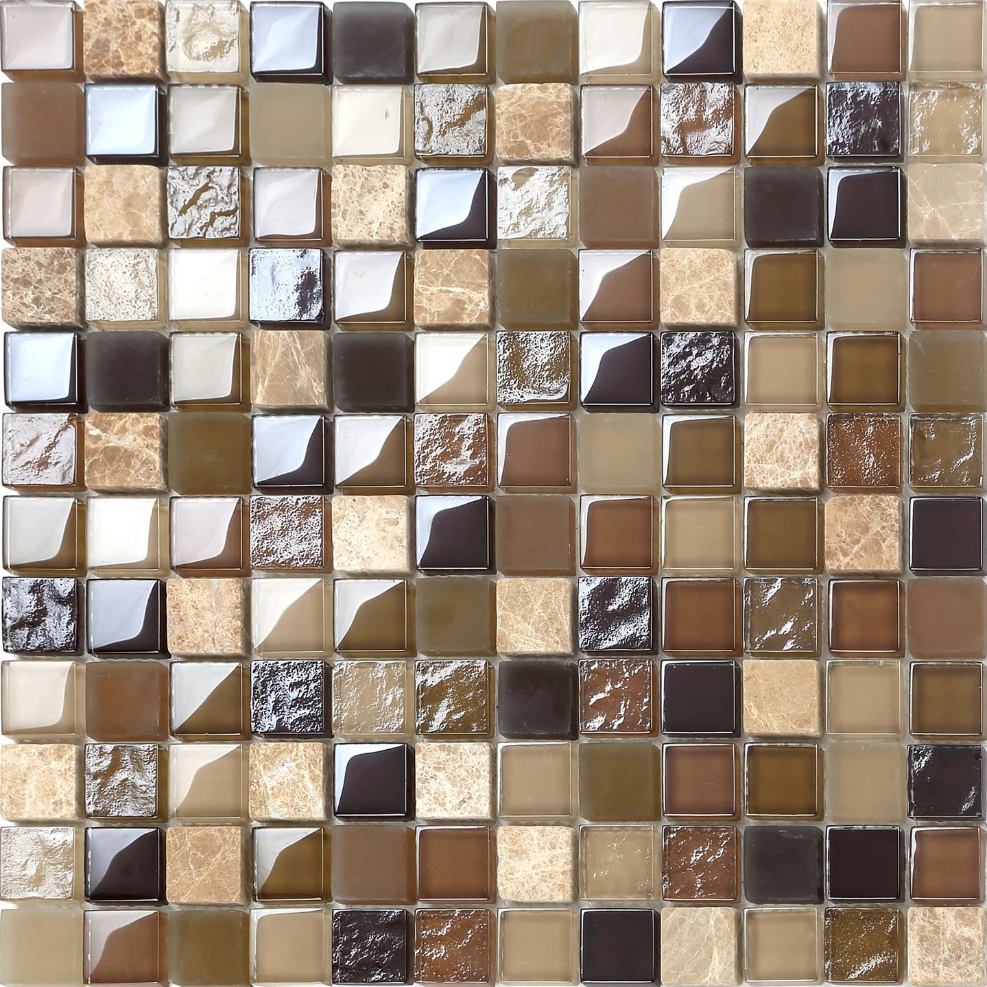 Brown green stone glass rough smooth random mix mosaic tiles sample mt0050 ebay - Mosaique doree ...