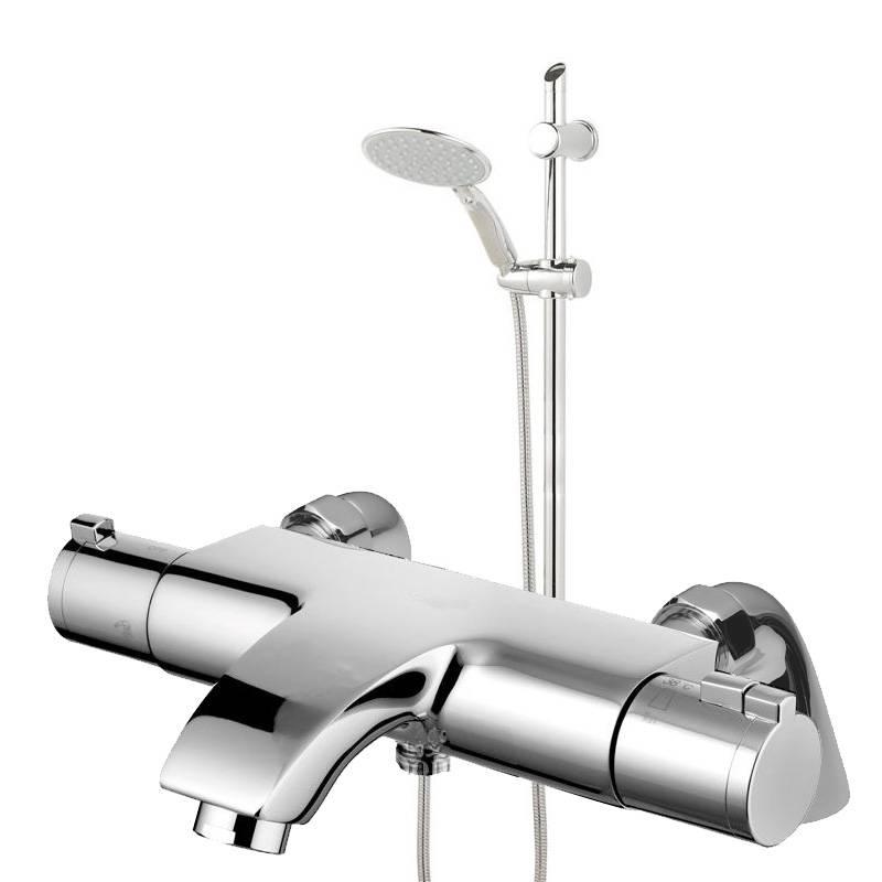 Deck Wall Mounted Thermostatic Chrome Bathroom Bath Shower