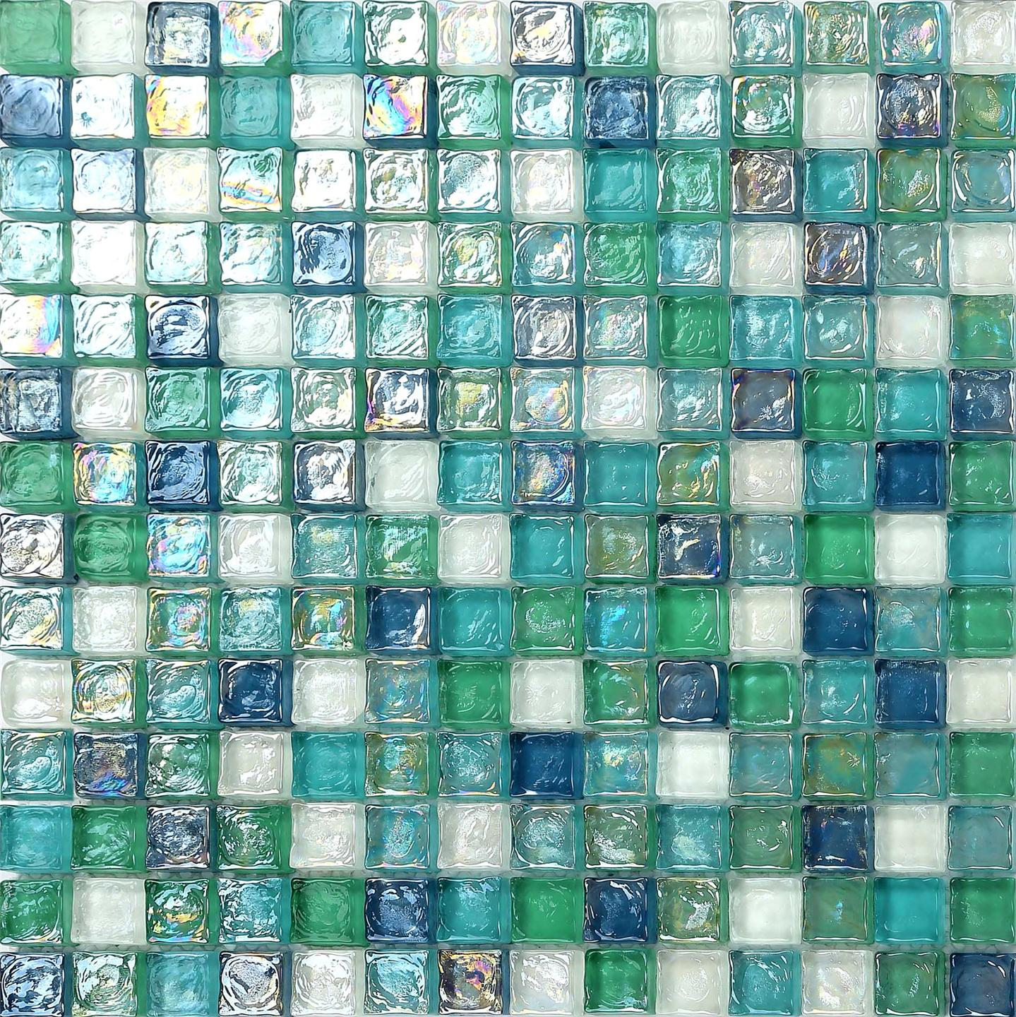 mosaic tiles blue green aqua hammered swirl glass kitchen