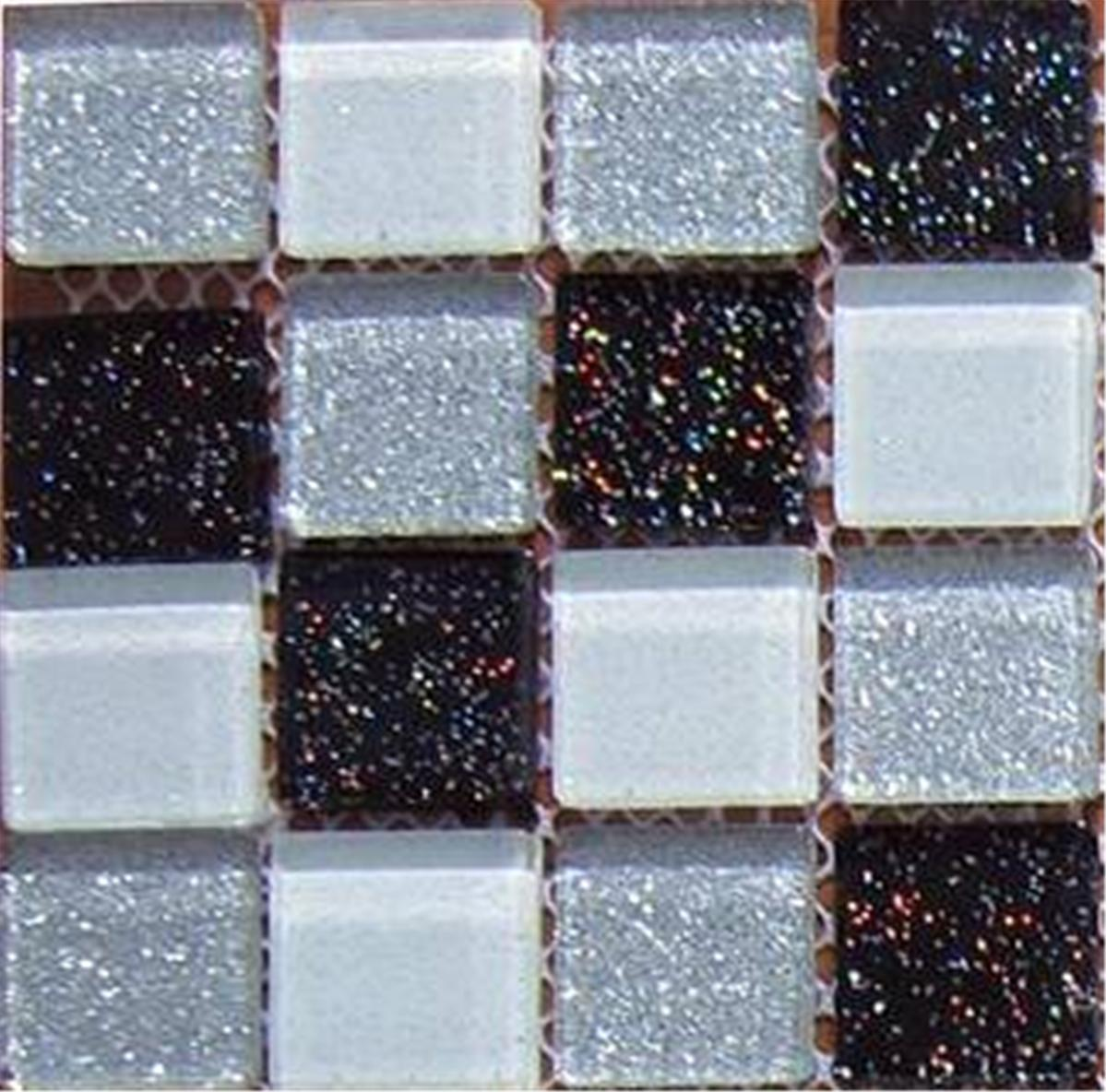 Glitter Kitchen Floor Tiles: Black Silver White Glitter Glass Kitchen Bathroom Mosaic