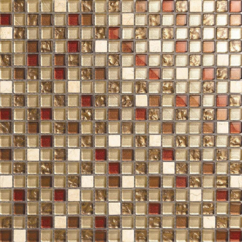 Cream white red gold silver stone glass mix mosaic for Carrelage stone