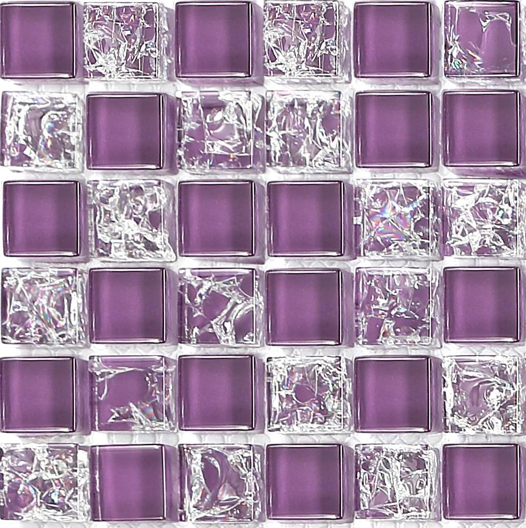 Purple Crackle Plain Mix Bathroom Kitchen Glass Mosaic Tile Sample MT00