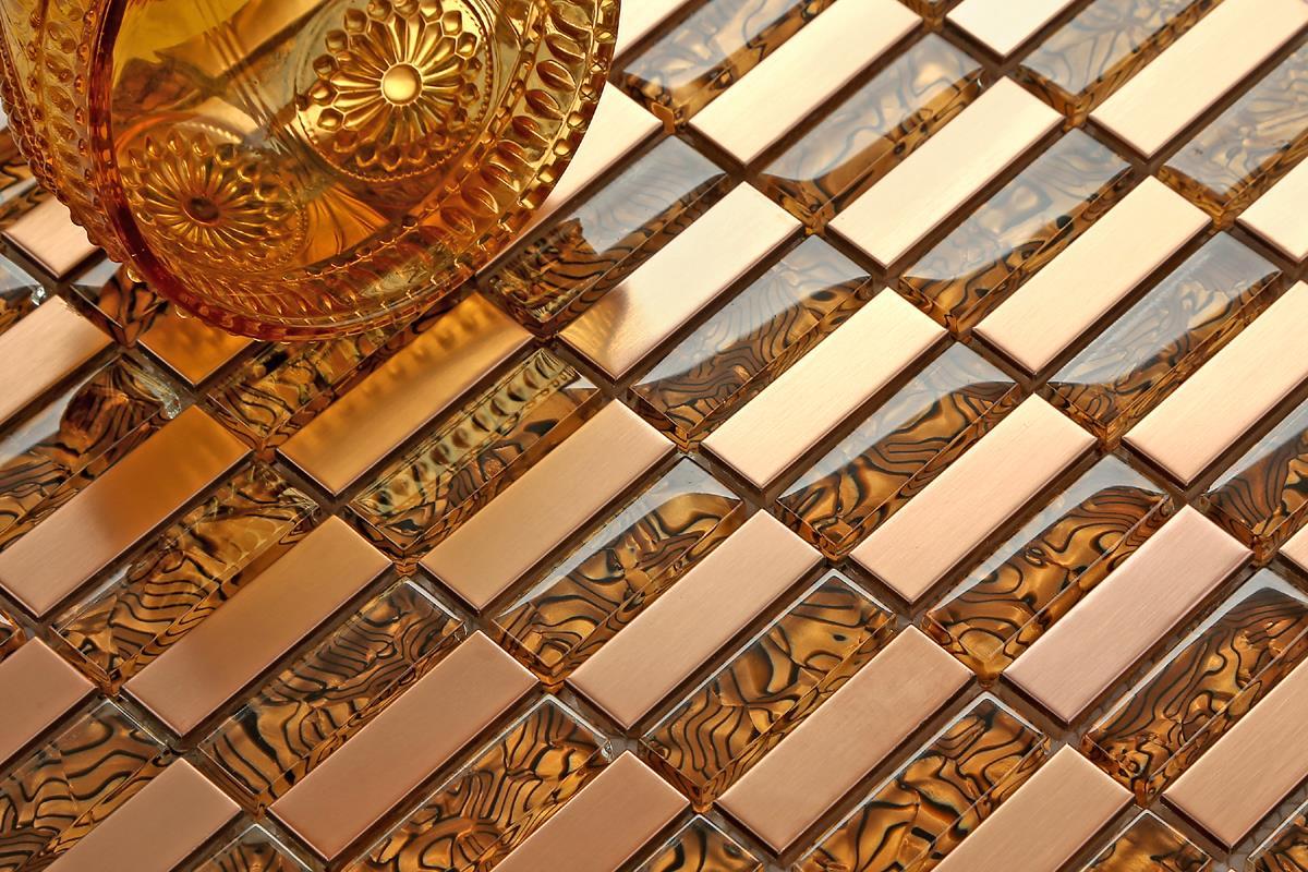 Copper effect brushed steel glass mosaic tiles metallic - Metallic fliesen ...