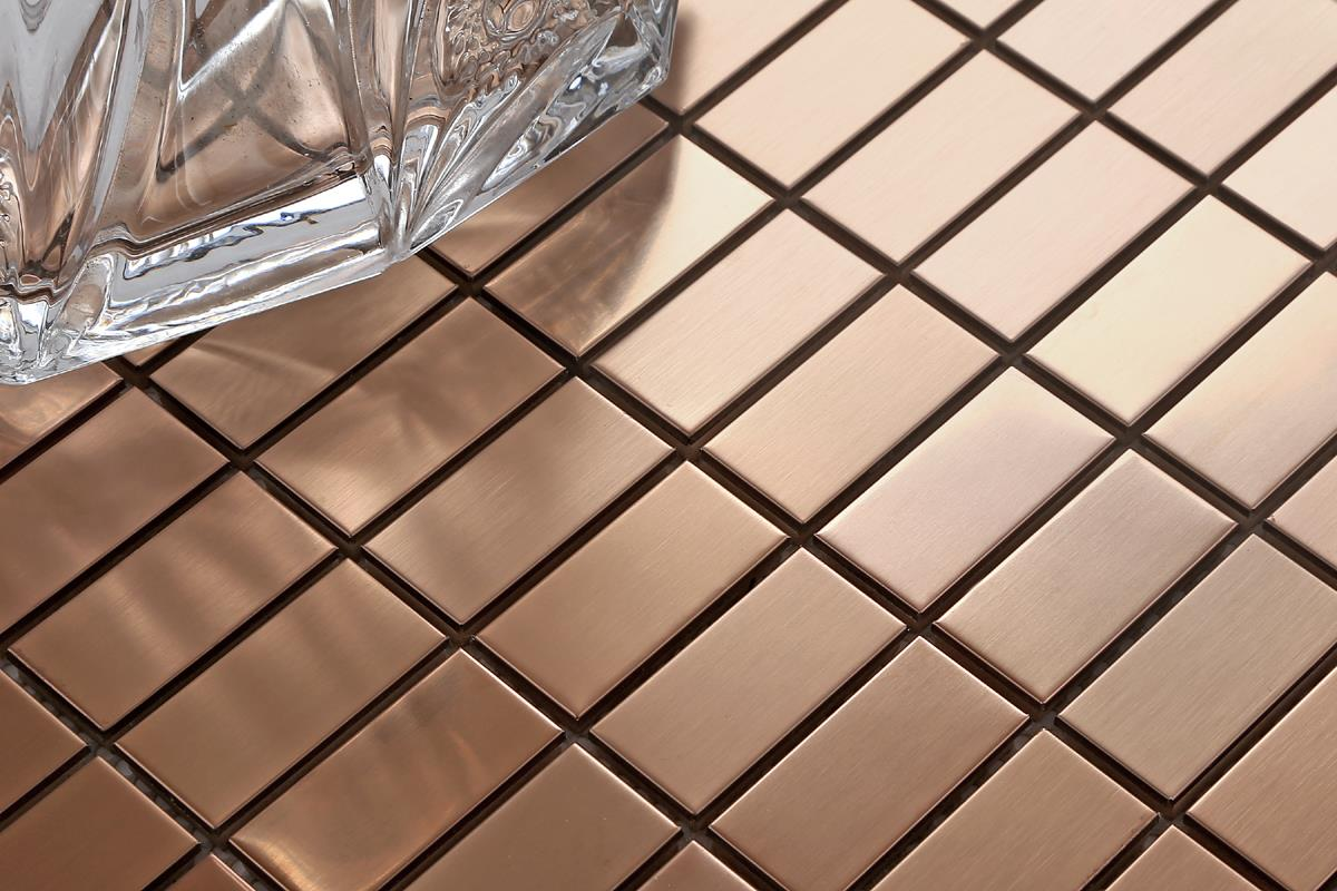 Stainless Steel Brushed Copper Effect Mosaic Wall Tiles Bathroom Mt0105 Ebay