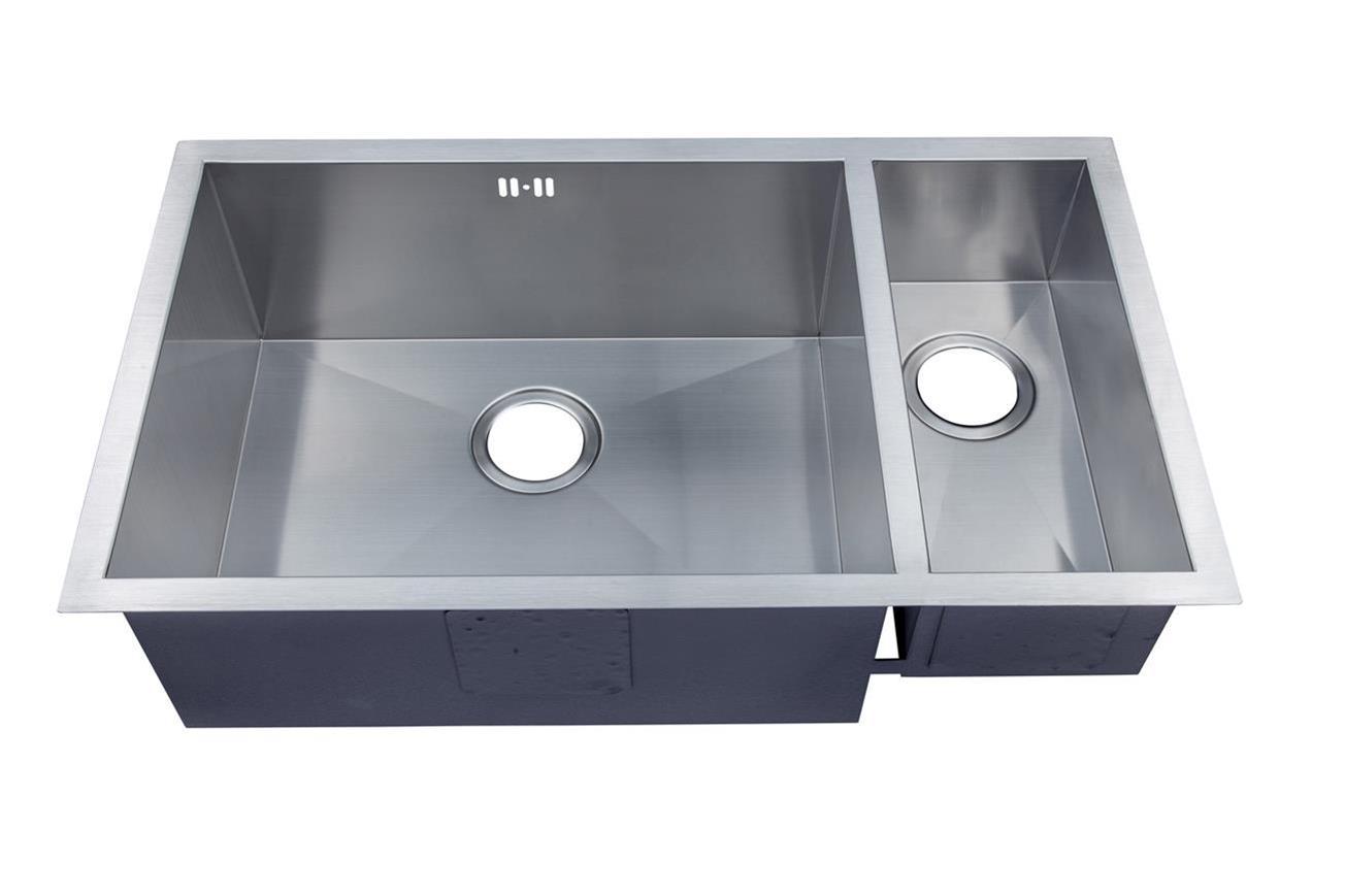 1 5 bowl handmade satin stainless steel undermount kitchen - Kitchen sink clips extra long ...