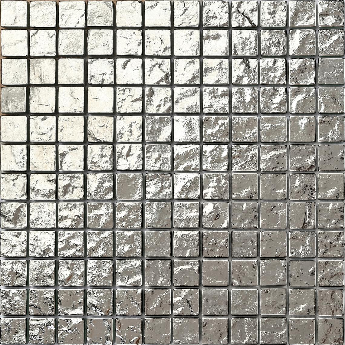 Silver Glass Mosaic Wall Tiles Textured Bathroom Shower