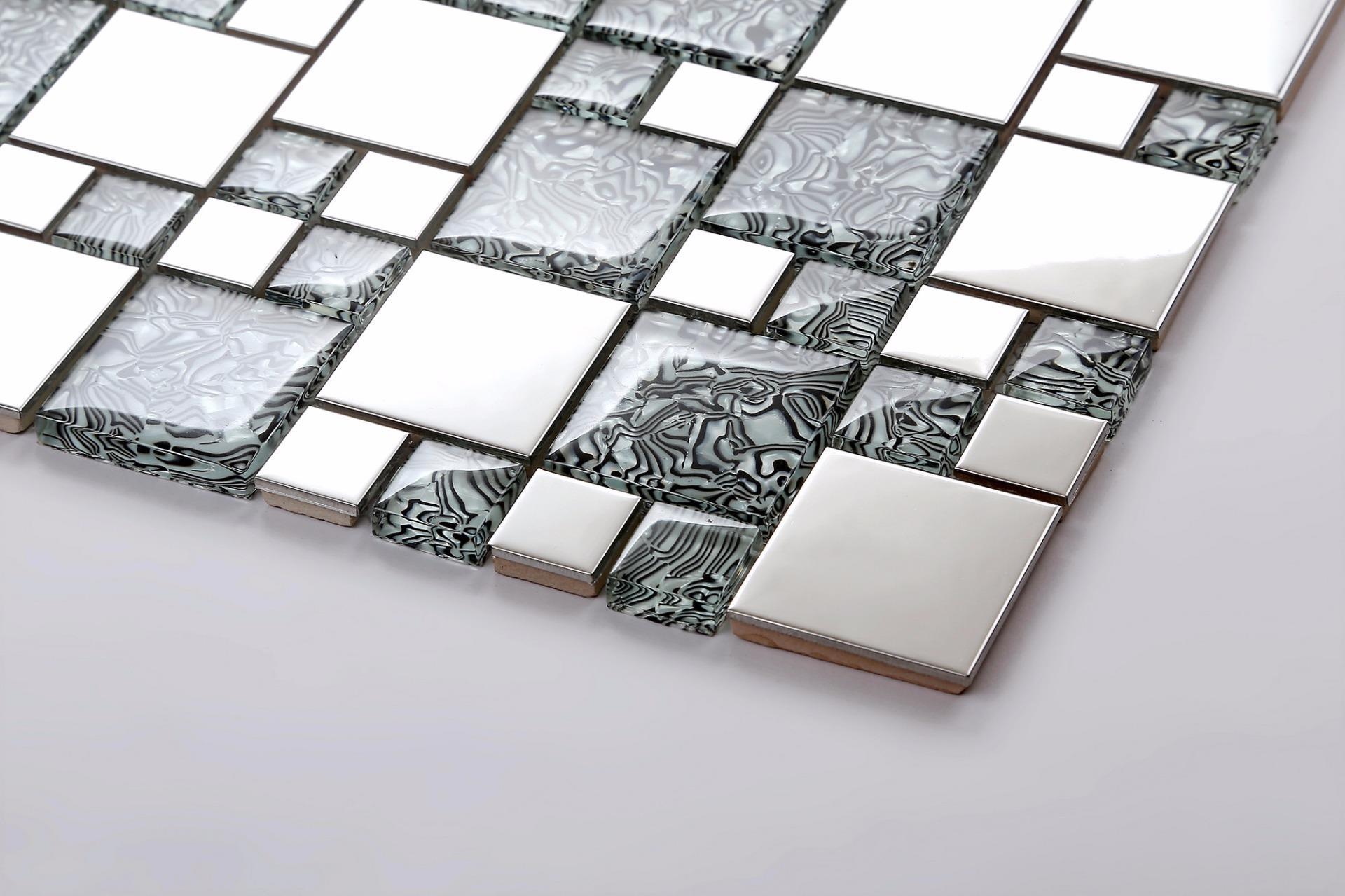 Metallic random mix polished steel silver glass mosaic - Metallic fliesen ...