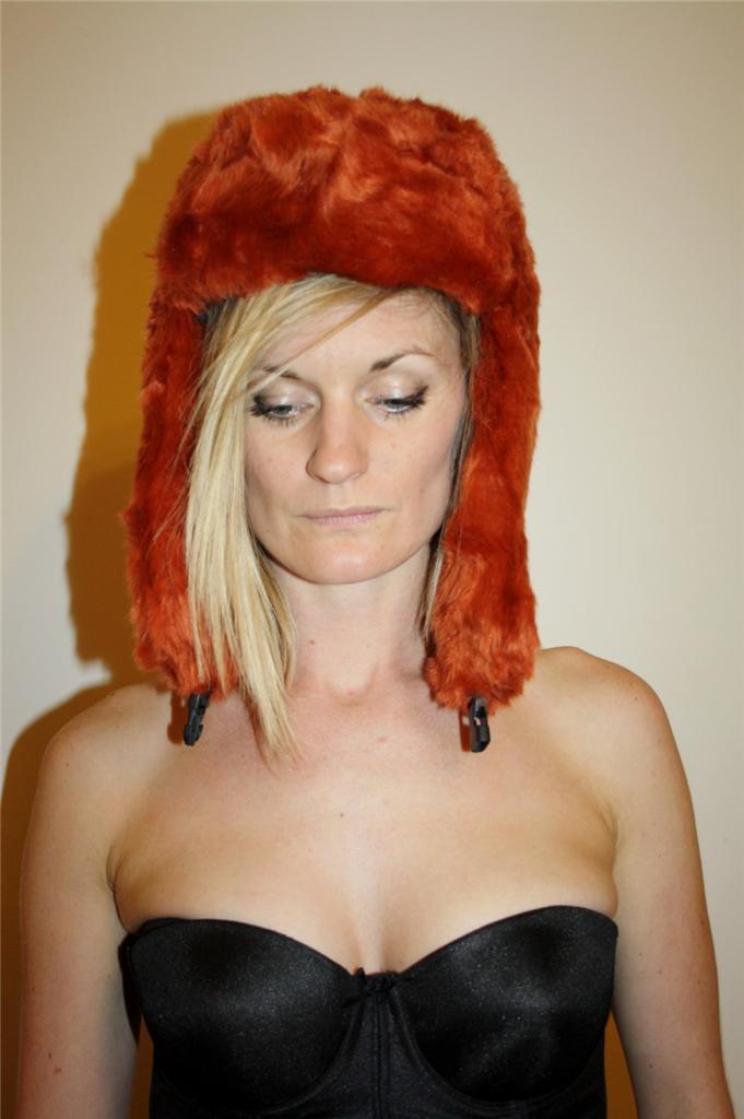 SPORTSGIRL-Retro-Orange-FAUX-FUR-MARUSHKA-Russian-Style-BABUSHKA-WINTER-HAT