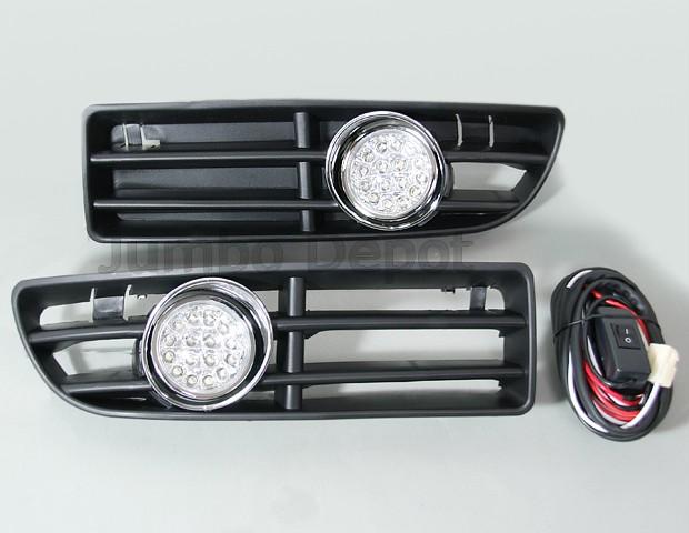vw jetta bora mk4 led fog light front bumper grille ebay. Black Bedroom Furniture Sets. Home Design Ideas