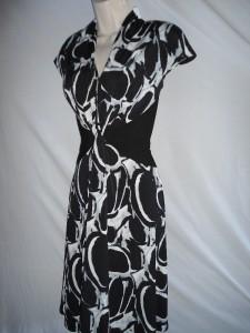 Jones New York Dress 12 NEW Black White Printed Stretch