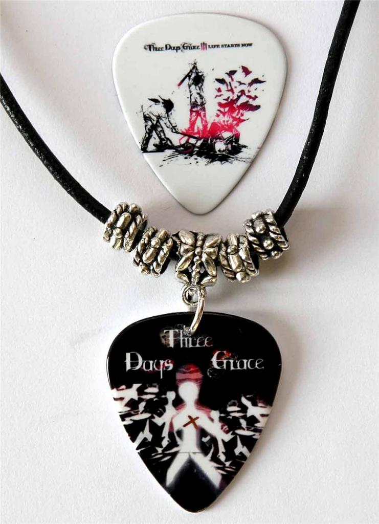 Three Days Grace Guitar Pick Black Leather Necklace Plus ...