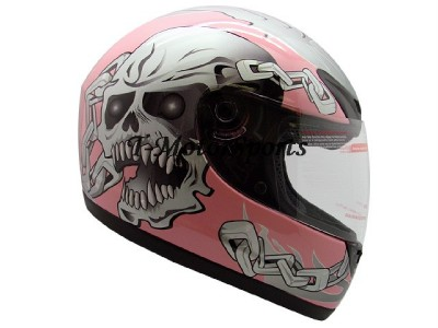 FULL FACE MOTORCYCLE SPORT BIKE HELMET PINK SKULL DOT~L