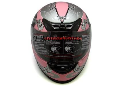 FULL FACE MOTORCYCLE SPORT BIKE HELMET PINK SKULL DOT~L