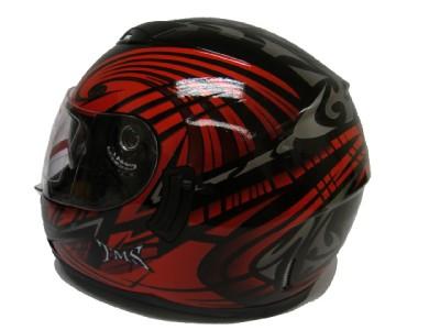 RED TRIBAL DUAL VISOR FULL FACE MOTORCYCLE HELMET DOT L