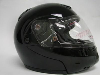 FLIP UP MODULAR MOTORCYCLE STREET HELMET GLOSS BLACK ~L