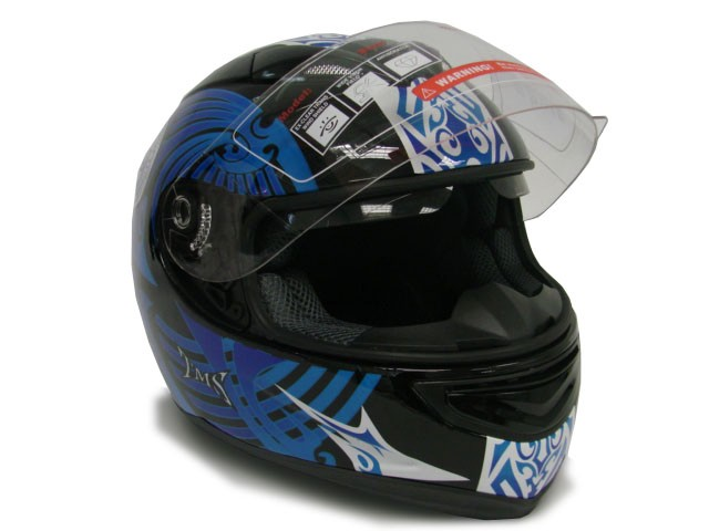 Blue Black Dual Visor Full Face Motorcycle Helmet Sun Shield