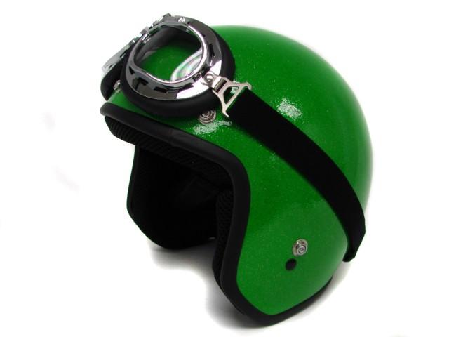 TMS Metal Flake Motorcycle Helmet Vintage Green Open Face Racer HELMET ...