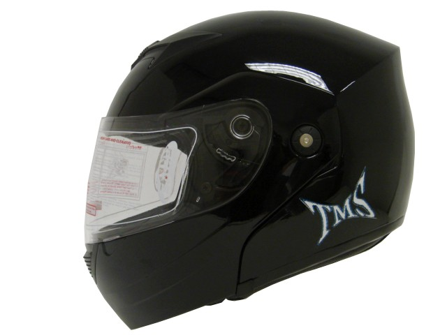 SOLID GLOSS BLACK DOT MODULAR FULL FACE FLIP UP MOTORCYCLE STREE BIKE