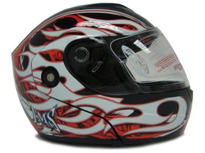 /Red/White Flip Up Modular Full Face Motorcycle Helmet Street DOT ~ L
