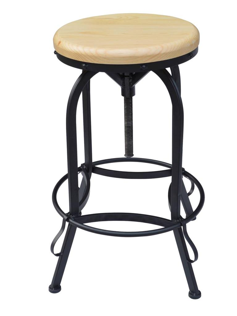 Natural Wood Swivel Seat Metal Adjustable Height Kitchen Bar Stool Counter Ch