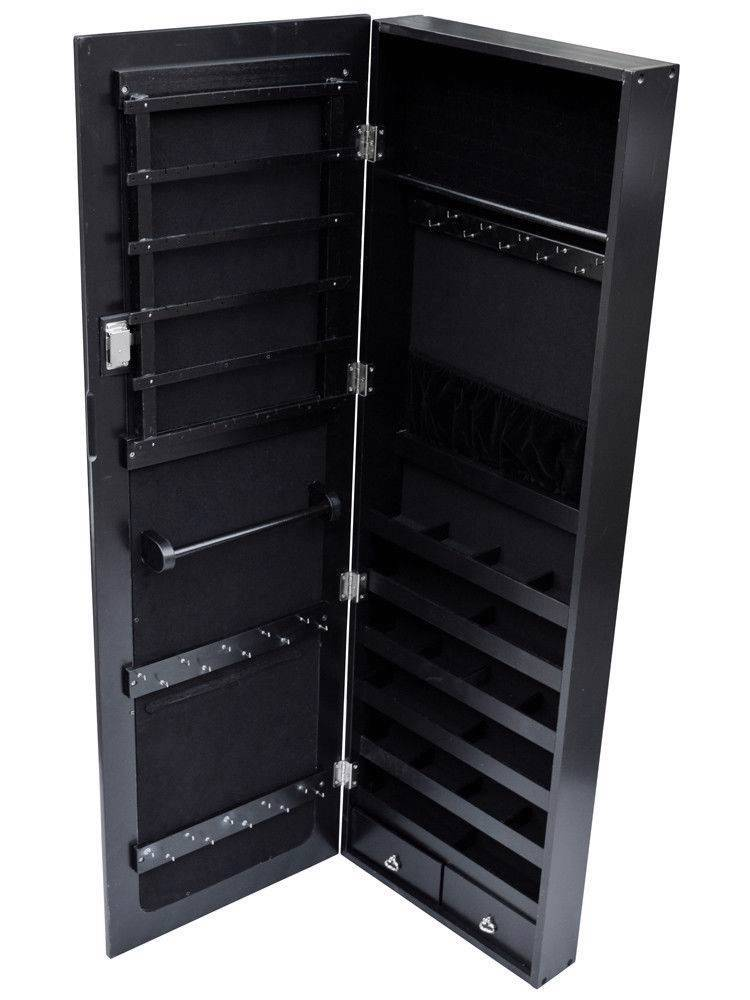 glass mirrored jewelry cabinet armoire organizer storage wall mount black case ebay. Black Bedroom Furniture Sets. Home Design Ideas
