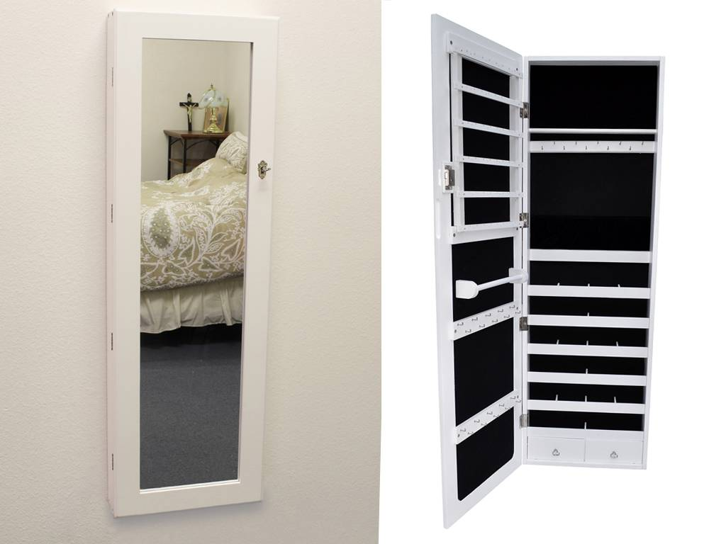 white mirrored jewelry cabinet armoire organizer storage wall mount jewelry case ebay. Black Bedroom Furniture Sets. Home Design Ideas