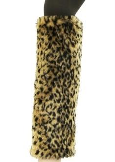 New-Fashion-leopard-cheatah-15-tall-Faux-Fur-Furry-Leg-Warmer-boots-covers