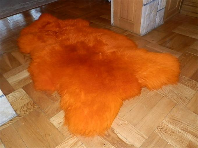 Orange Sheepskin Rug Rugs Ideas